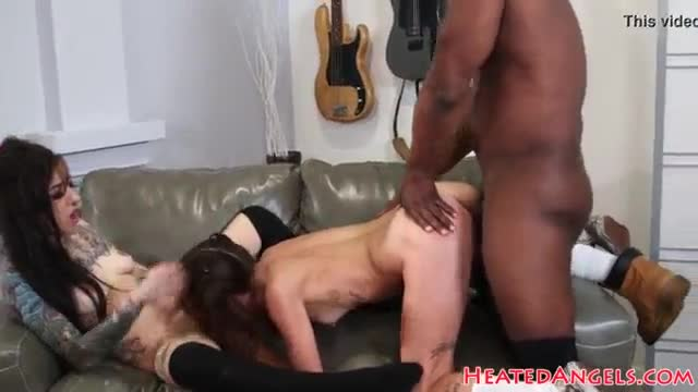 Goth babes drilled in threesome by bbc