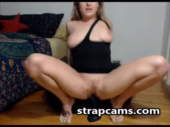 Busty Blondie Riding Huge Black Dildo On Webcam